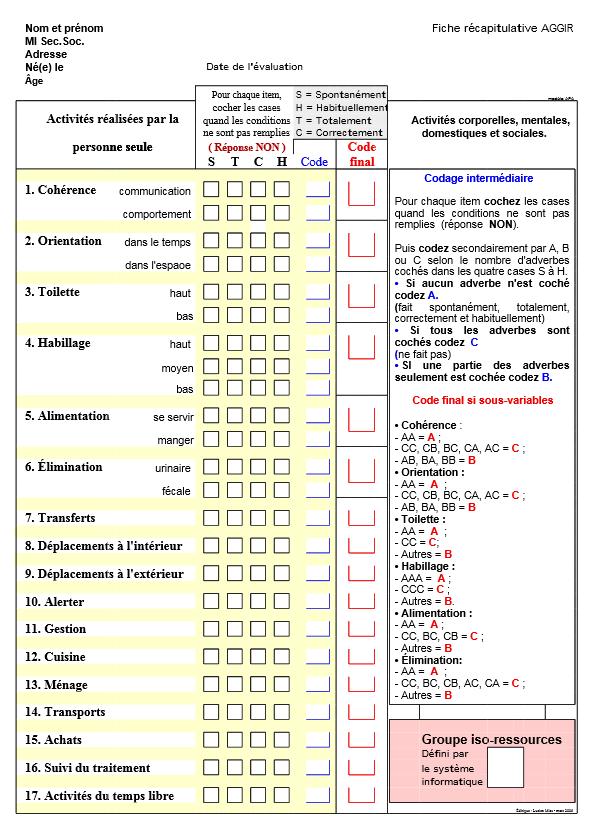 Allocation personnalis e d 39 autonomie la grille aggir - Definition de la grille aggir ...