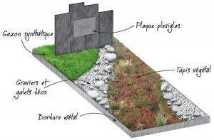 sépulture paysagère avec plaque