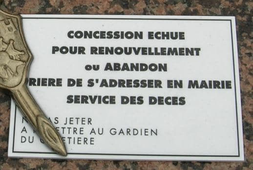 reprise concession funéraire