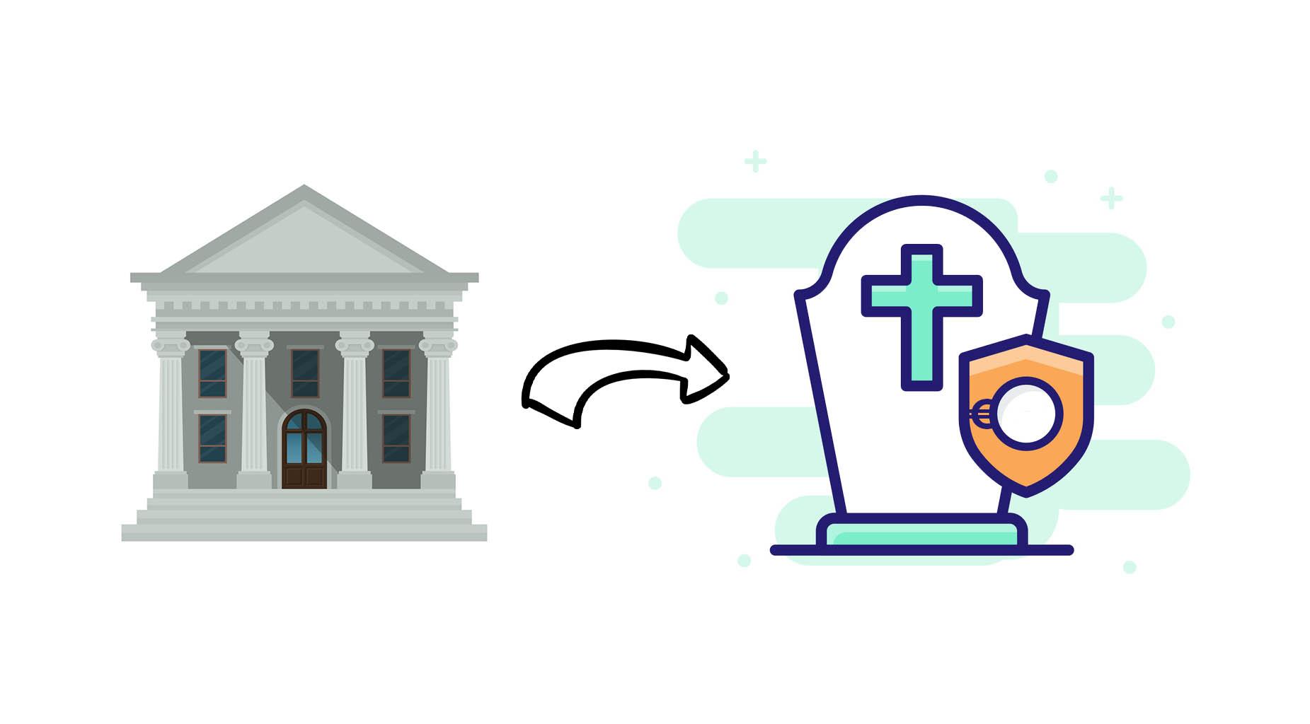 banque paye frais obsèques illustration