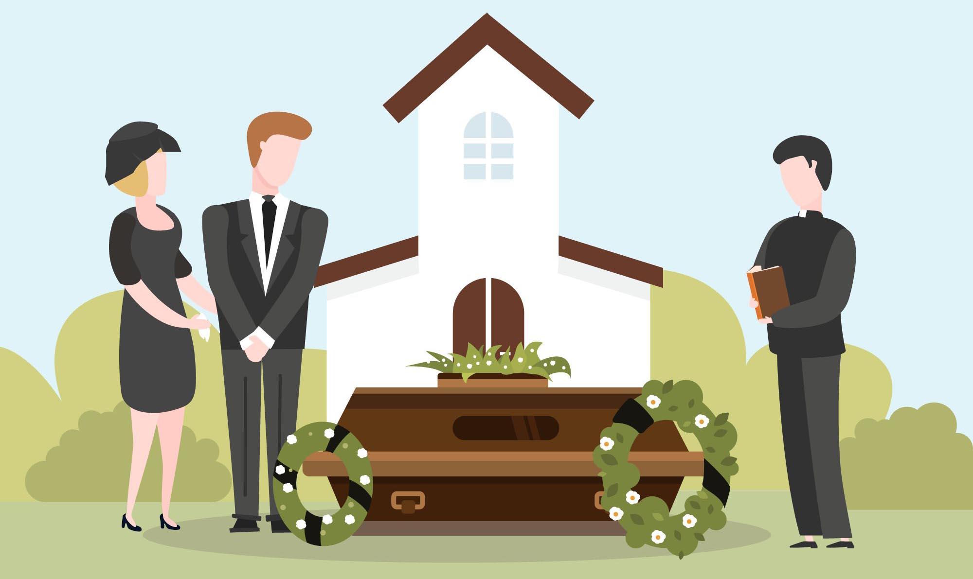 Illustration Famille Deuil Enterrement